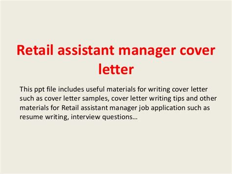 Cover Letter Sle For Assistant Manager by Retail Assistant Manager Cover Letter