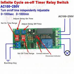 Ac 110v 220v Infinite Cycle Delay Timing Timer Relay On