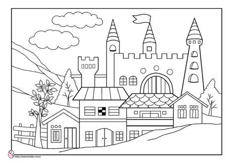 gambar mewarnai istana negeri dongeng semesta ibu