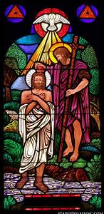 """""""Bright Baptism of Jesus"""" Religious Stained Glass Window"""