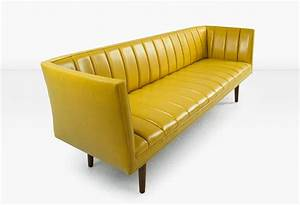 Famechon sofa with channeled back and seat walnut legs for Yellow leather sofa bed