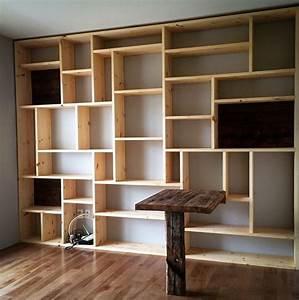 étagère Bibliothèque Bois : etagere murale sur mesure ~ Teatrodelosmanantiales.com Idées de Décoration