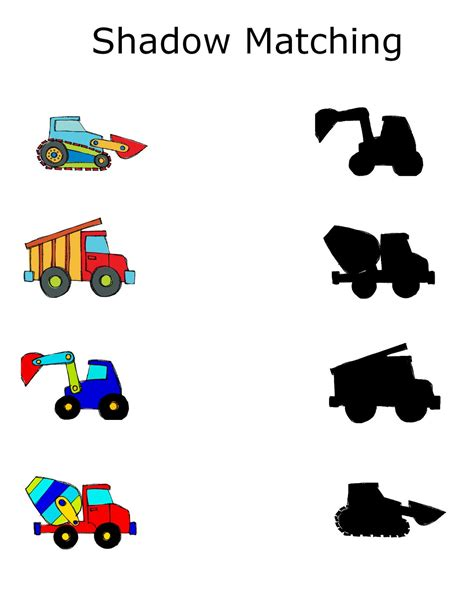 construction preschool packet 3 day freebie 117 | shadow matching
