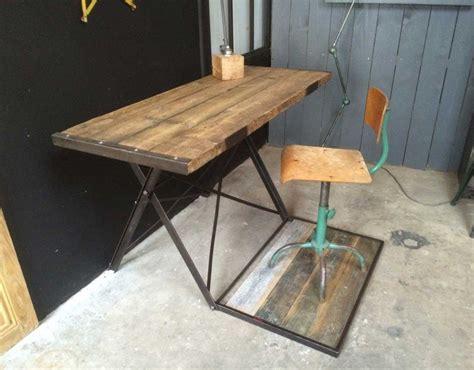 bureau bois brut ancien bureau bois et métal