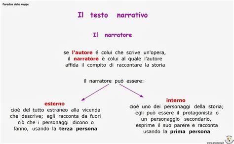 schema testo narrativo paradiso delle mappe il testo narrativo il narratore