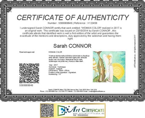 artcertificate certificate  authenticity artcertificate
