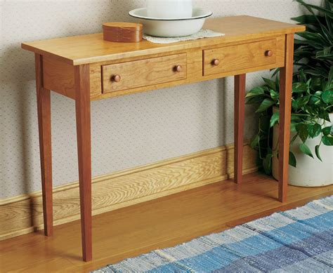 shaker hall table woodworking project woodsmith plans