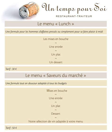 la cuisine à menus et carte pour un temps pour soi cuisine française et