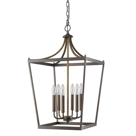 kennedy rubbed bronze lantern pendant light 16 quot wx28 quot h
