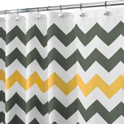 Yellow Chevron Drapes - shower curtain chevron artistic yellow and grey bath
