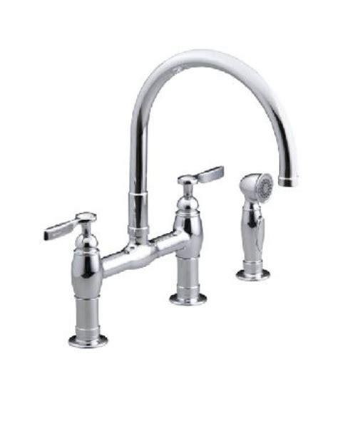kohler parq bridge faucet kohler k 6131 4 sn parq deck mount kitchen bridge faucet w