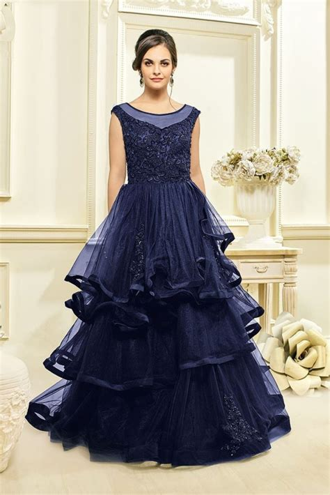 sku  navy blue bridal net long gown  wholesale
