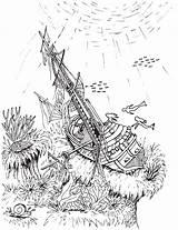 Shipwreck Coloring Pages Mermaid Printable Getdrawings Getcolorings sketch template