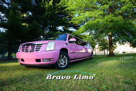 pink cadillac escalade limo bravolimo