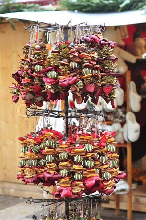 dried fruit garlands   christmas stock photo