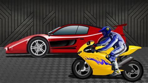 Sports Car Vs Sports Bike  Race Video  Kids Racing Video