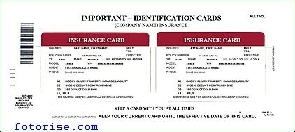 auto insurance card insurance cards templates resume builder