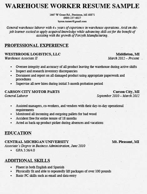 Warehouse Worker Resume by Warehouse Worker Resume Sles Ipasphoto
