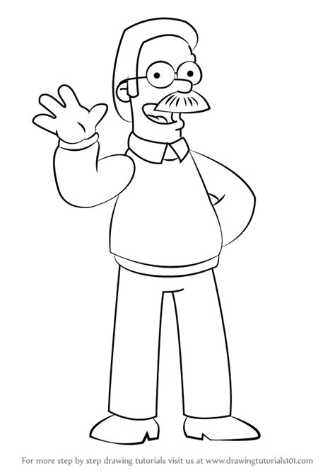 step  step   draw ned flanders   simpsons