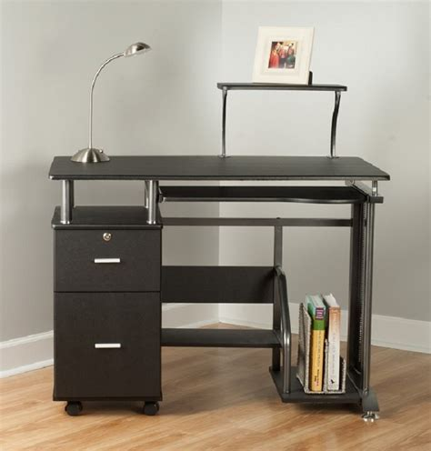 black desk with storage rothmin computer desk with storage cabinet black and