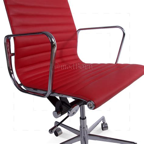 ea117 eames style office chair low back ribbed leather