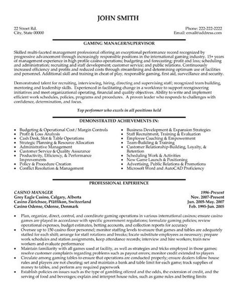 click here to this casino manager resume template