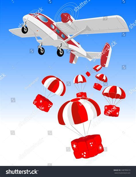 vector illustrations christmas airplane cargo  stock