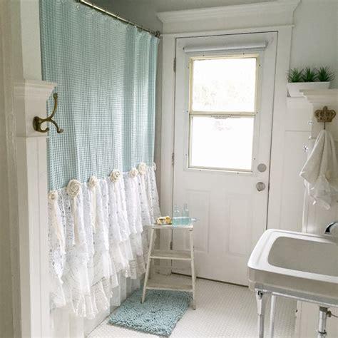 Shabby Chic Bathroom Curtain Ideas by My Bohemian Bathroom With Vintage Lace Hallstrom Home