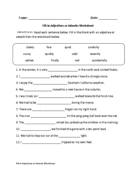 fill in adjectives or adverbs worksheet englishlinx