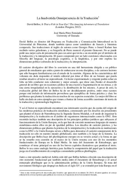 Pdf La Inadvertida Omnipresencia De La Traducci 243 N A