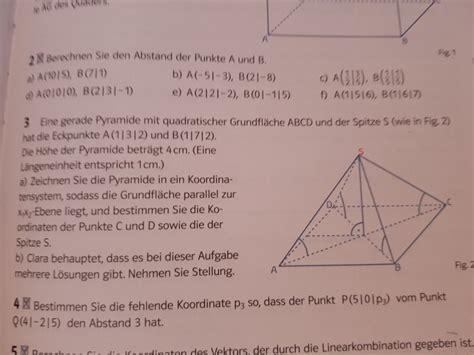 fehlende koordinaten der eckpunkte der pyramide mit