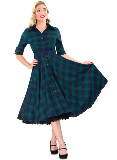 tartan shirt 2 39 way out west 39 black tartan 50s style swing dress