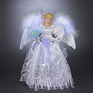 battery operated angel tree toppers 12 quot lighted led fiber optic white and silver tree topper co uk kitchen