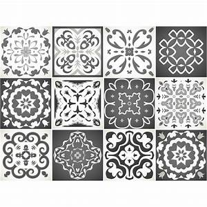 Stickers Carreaux De Ciment : 12 stickers carreaux de ciment nuance de gris rimini ~ Melissatoandfro.com Idées de Décoration