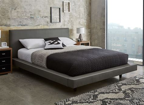 gray upholstered bed diaz grey faux leather bed frame dreams