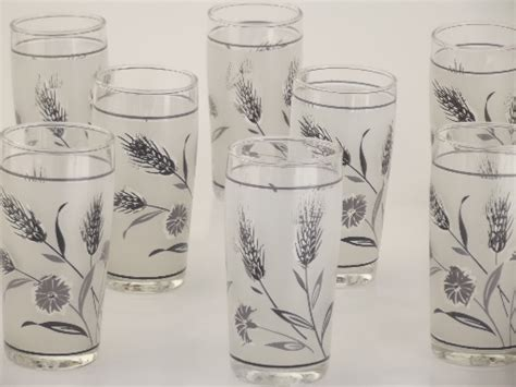 libbey silver wheat drinking glasses vintage juice