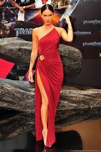 Megan Fox Transformers One Shoulder Red Chiffon Sheath