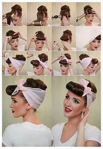Coiffure Année 50 Pin Up : coiffure avec un foulard ou bandana fa on pin up rockabilly des ann es 50 ~ Melissatoandfro.com Idées de Décoration