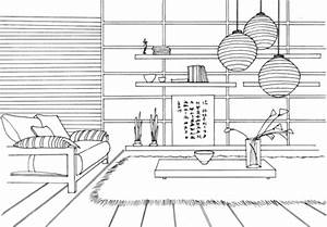 dibujo de habitacion de estilo japones para colorear With interior design coloring books