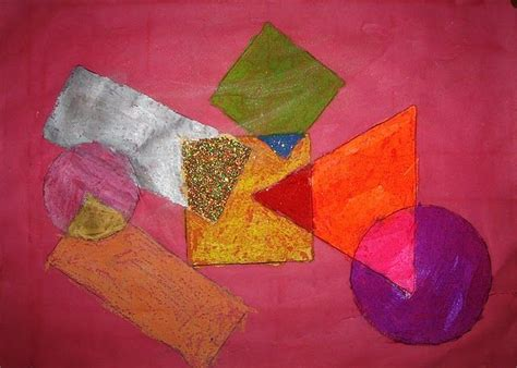 Abstract Painting Using Shapes by Geometric Shape Abstraction Pastel Resist Wash