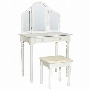 Coiffeuse Meuble Blanc : coiffeuse meuble table de maquillage secr taire commode avec miroir 3 faces rabattable ~ Teatrodelosmanantiales.com Idées de Décoration