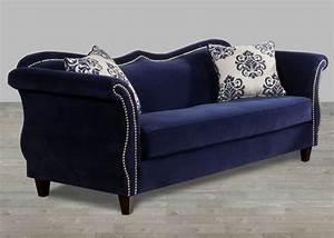 Royal Blue Fabric Sofa Nailhead Trim Fabric Sofas