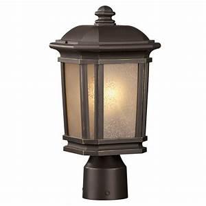 Shop portfolio corrigan 1412 in h dark brass post light for Lamp post light lowes