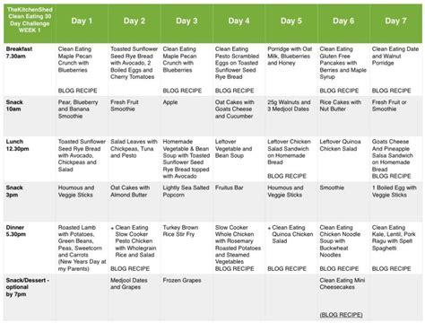 week  meal plan clean eating  day challenge clean