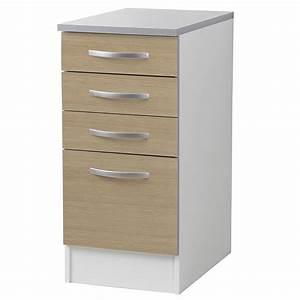 Meuble Bas A Tiroir : meuble bas 4 tiroirs 40cm smarty naturel ~ Dailycaller-alerts.com Idées de Décoration