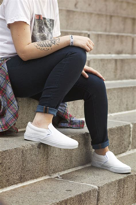Vans How To Wear Slip On Sneakers Girl Skater Shoes | White shoes Vans and Leather
