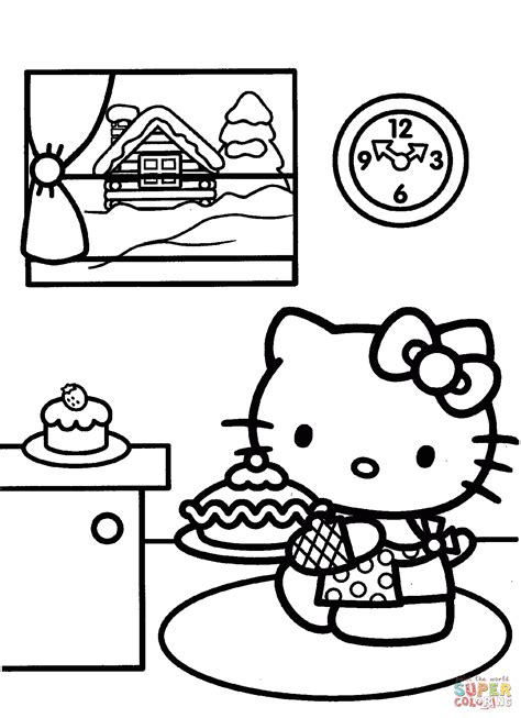 Hello Kitty Prepares for Christmas coloring page Free