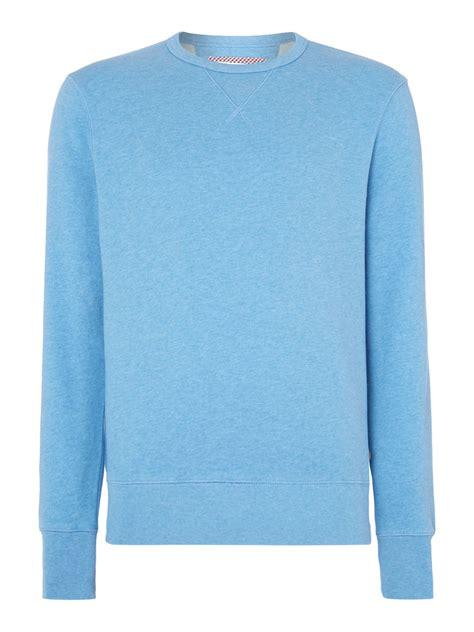 light blue crew neck sweatshirt ben sherman house plain crew neck sweatshirt in blue for