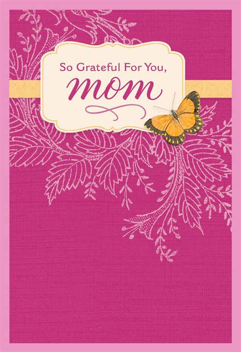 grateful butterfly  pink birthday card  mom