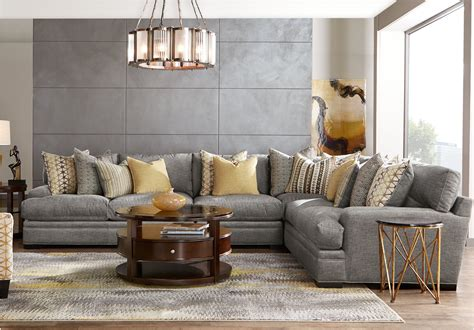 cindy crawford home palm springs gray  pc sectional
